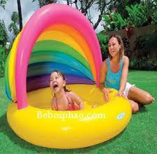 Bể bơi phao hơi cho bé có mái che cầu vồng